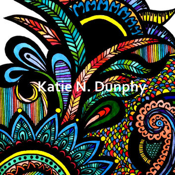 "Henna Mehndi Rainbow Line Drawing 8""x10"" Print Original Design by Katie N. Dunphy"