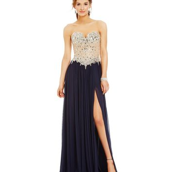 Glamour by Terani Couture Crystal Beaded Bodice Gown | Dillards