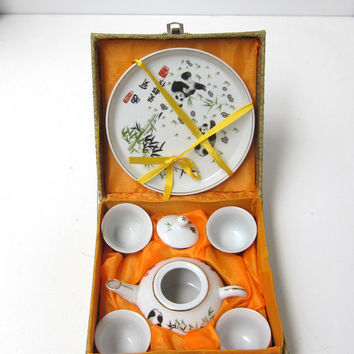 Vintage Miniature porcelain chinese tea set with pandas