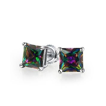 Sterling Silver Square Rainbow Topaz Color CZ Mens Studs | Bling Jewelry