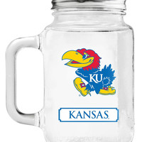 Kansas Jayhawks Mason Jar Glass With Lid