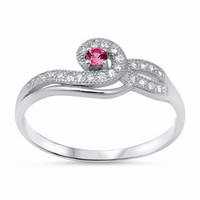 Sterling Silver Ladies Brilliant Round cut Ruby CZ Infinity Swirl Soitaire Engagement Ring size 5-10