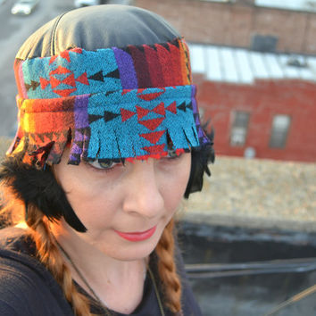 Native American Inspired Hat - Pendleton Wool and Leather Hat - Made to Order