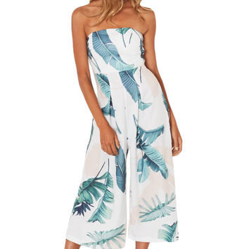 Tropical Strapless Jumpsuit