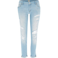 River Island Womens Light wash ripped Cara superskinny jeans