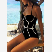 Fashion sexy hot black white contrast one piece bath suit line halter show thin bikini