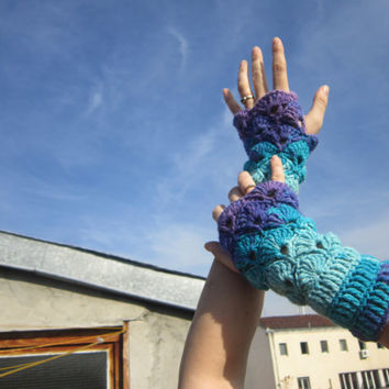 Fingerless Mittens  Gloves Wrist Arm Warmers Multicolored Crocheted Turquoise Purple Accessories Winter Gift for Her by dodofit on Etsy