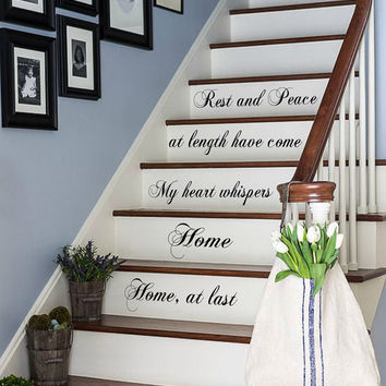 Wall Decals Quote Rest And Peace Home At Last Staircase Stairway Design Stairs Words Phrase Home Vinyl Decal Sticker Living Room Decor kk784