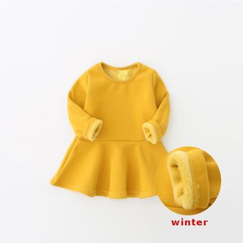 Baby Girl and Toddler velvet Winter Dresses  - in 7 Colors