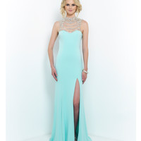 Aquamarine Hollywood Glam Beaded Neck Low Back Gown