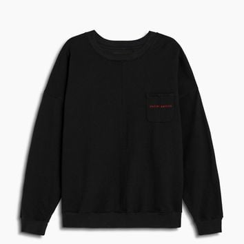 pocket crew sweat / black + red