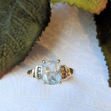 14K Yellow Gold Emerald Cut Sky Blue Topaz Diamond Accent Ring Size 7 1/4