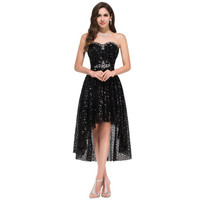 2015 Strapless High Low Prom Dress Black Off Shoulder Sparkly Sequins Short Front Long Back Evening Gowns 008915-in Evening Dresses from Weddings & Events on Aliexpress.com   Alibaba Group