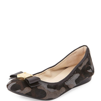 Tali Camo Calf-Hair Bow Ballet Flat, Gray