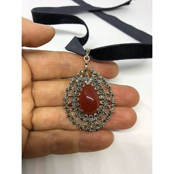 "Handmade Turkish Ottoman Styled ""Y"" Necklace, Sterling Silver Marcasite Carnelian Choker"