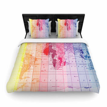 "Catherine Holcombe ""Rainbow World Map"" Multicolor Travel Woven Duvet"