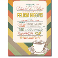 Bridal Tea Party Invitation Mod Zig Zag Chevron Teacup Wedding Shower Vintage Retro Typography Printable Digital or Printed - Felicia Style
