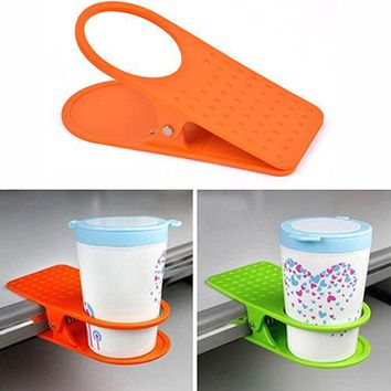 IK- Creative Office Desk Table Drink Water Coffee Mug Clip On Cup Holder Newest