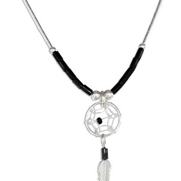 "Sterling Silver 20"" Simulated Black Onyx Heishi Bead Dreamcatcher Necklace"