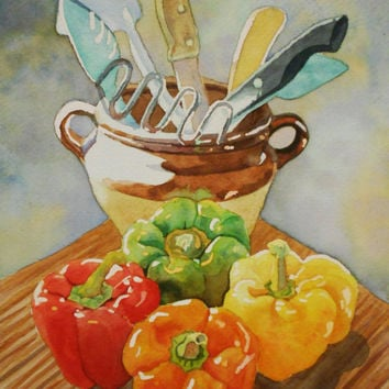 Original Bell Peppers Watercolor Painting. Pepper Painting. Kitchen wall art. Pepper wall art. Pepper picture. Pepper artwork. Still life.