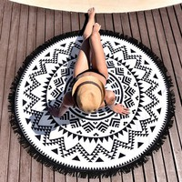 Tribe of Us Round Beach Towel with Tassels