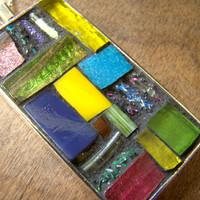 Mosaic Art Pendant with Chain: SUMMERTIME Colorful Mixed Media Assorted Glass and Tile Design OOAK Yellow Blue Green Pink