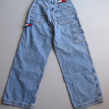 Vintage 90s Tommy Straight Wide Leg Carpenter Jeans Medium Wash Blue 6 Denim 27""