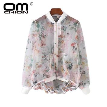 New Women Blouse Long Sleeve Chiffon Shirts Female Casual Print Stand Zipper Sunscreen Loose Tops Organza Out Wear