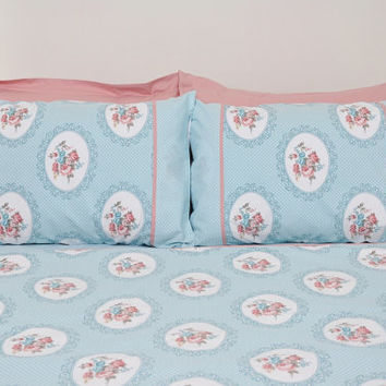 Floral Cottage Bedding Set in Mint Green, Powder Pink Rose Print for Queen or Full - 6-pcs Set of Duvet Cover, Sheet, Shams & Pillow Cases