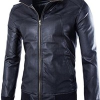 jeansian Men's Casual Thread Hem Leather Jacket Coat 9366