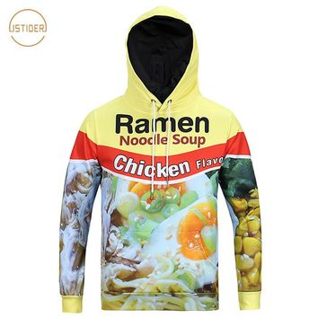 ISTider Europe and America Youth Hoody 3D Ramen Noodle Printed Hooded Sweatshirts Pork/Chicken/Beef Ramen Hoodies Men Women
