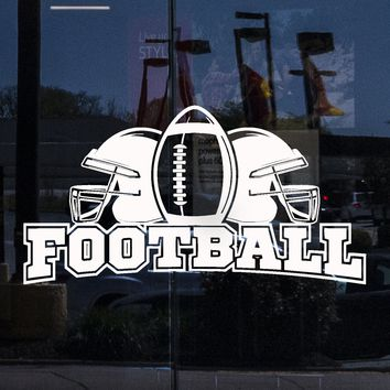 Window Vinyl Wall Decal Football Lettering Ball Helmets Sports Boy Room Stickers Mural Unique Gift (ig5181w)