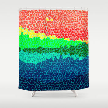 Sunset on Tropical Island  Shower Curtain by Miss L In Art