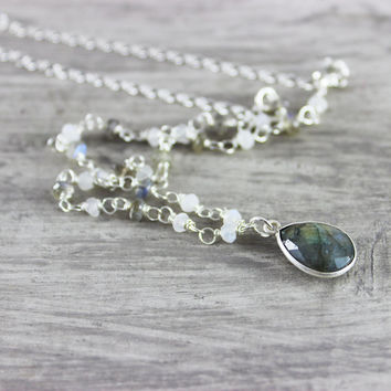 Labradorite Gemstone Necklace, Labradorite Necklace, Sterling Silver Necklace, Bezel Pendant Necklace, Wire Wrap Necklace, Rainbow Moonstone