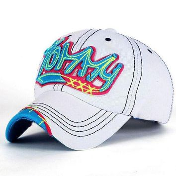 DCCKWJ7 1 Pcs Korea Leisure Fashion Women Baseball Caps Spring And Summer Letter TOMMY Snapback Cowboy Hat 4 Colors Free Shipping