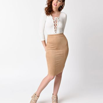 f673fa4e4 1970s Style Camel Tan Faux Suede High Waist Wiggle Skirt