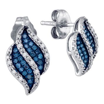 10kt White Gold Womens Round Blue Color Enhanced Diamond Cascading Stud Earrings 1/6 Cttw