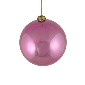 """Shiny Pretty in Pink Shatterproof Christmas Ball Ornament 6"""" (150mm)"""