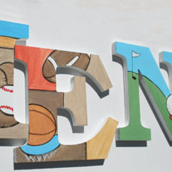 Sports Themed Wooden Wall Name Letters / Hangings, Hand Painted for Boys Rooms, Play Rooms and Nursery Rooms
