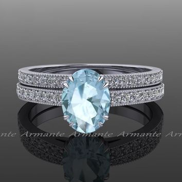 Engagement Ring Set, Aquamarine and Diamond
