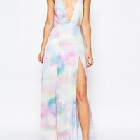 Fame and Partners Valentina Dream Maxi Dress With Cut Out Back In Watercolour Print