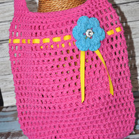 Tote- Hot Pink with Hot Blue Flower and Yellow Ribbon