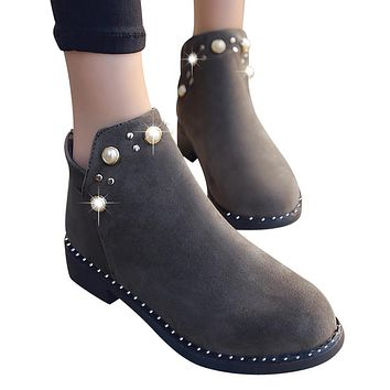 Vintage Women Boot Pearl Shoes Martain Boots Suede Flat Ankle Boots Zipper Boot