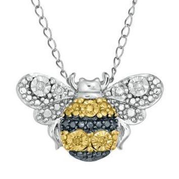 White & Yellow Diamond Bumble Bee Pendant in Sterling Silver - Fashion Trends - Fashion Jewelry - Jewelry - Helzberg Diamonds