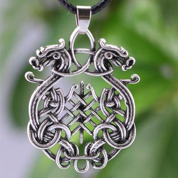 LANGHONG 1PCS Nordic Amulet Pendant Necklace Large Double Dragon Pendant Necklace Jewelry Wiccan Necklace Norse Pagan Talisman