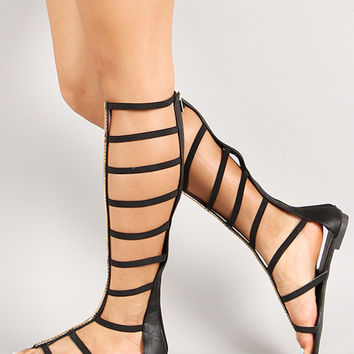 Dollhouse Elastic Caged Gladiator Flat Sandal