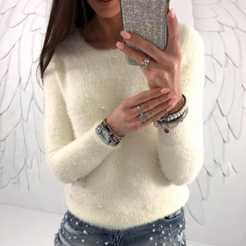 2018 Winter Women Crew Neck Long Sleeve Plush Fluffy Sweater Beading Solid Knit Pullover Tops Casual Jumper Pull Slim Knitwear