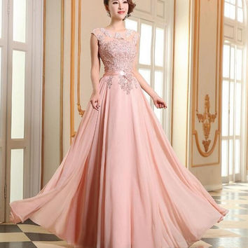 Vestido Elegant A Line O Neck Long Bridesmaid Dress Appliques Chiffon Floor Length Formal Wedding Party Gowns Prom Dresses 2016