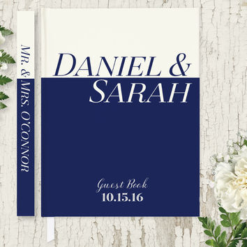 Personalized Wedding Guest Book, Nautical Guest Book, Hardcover Guest Book GB108