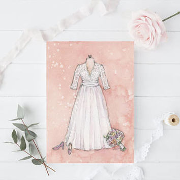 Unique Bridal Shower Gift  - Custom Wedding Dress Painting - Original Watercolor Wedding Illustration - Gift for Wife